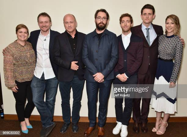 Amy Gravitt Alec Berg Mike Judge Martin Starr Thomas Middleditch Zach Woods and Amanda Crew attend Silicon Valley S5 FYC at The Paramount Lot on May...