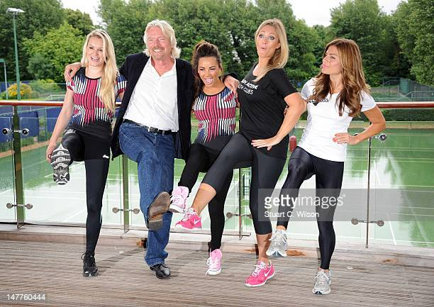 Amy Guy Sir Richard Branson Chelsee Healey Hayley McQueen and Zoe Hardman attend a photocall to reveal Richard Branson's celebrity team taking part...