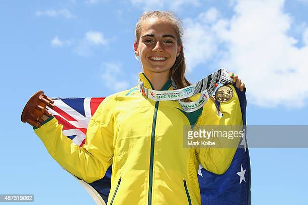 Amy HardingDelooze of Australia poses after the medal ceremony for the girls 800m during the athletics competition at the Apia Park Sports Complex on...