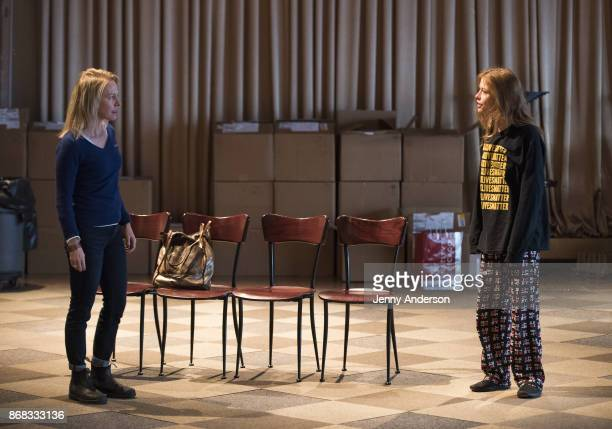 Amy Hargreaves and Genevieve Angelson in rehearsal for 24 Hour Plays on Broadway at American Airlines Theatre on October 30 2017 in New York City