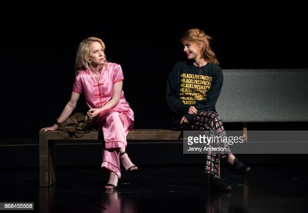 Amy Hargreaves and Genevieve Angelson perform during 24 Hour Plays on Broadway at American Airlines Theatre on October 30 2017 in New York City