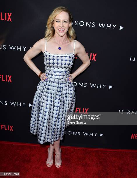 Amy Hargreaves arrives at the Premiere Of Netflix's '13 Reasons Why' at Paramount Pictures on March 30 2017 in Los Angeles California