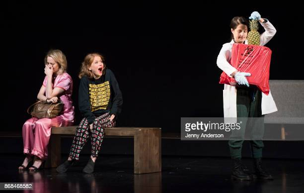 Amy Hargreaves Genevieve Angelson and Shaina Taub perform during 24 Hour Plays on Broadway at American Airlines Theatre on October 30 2017 in New...