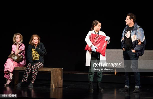 Amy Hargreaves Genevieve Angelson Shaina Taub and Yul Vasquez perform during 24 Hour Plays on Broadway at American Airlines Theatre on October 30...