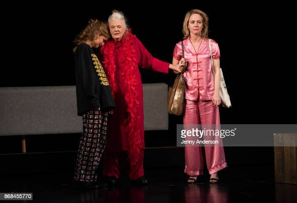 Amy Hargreaves Lois Smith and Genevieve Angelson perform during 24 Hour Plays on Broadway at American Airlines Theatre on October 30 2017 in New York...