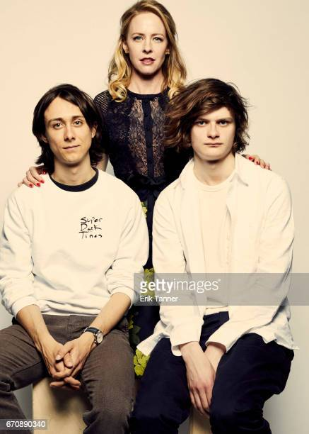 Amy Hargreaves poses with Owen Campbell and Charlie Tahan from 'Super Dark Times' at the 2017 Tribeca Film Festival portrait studio on April 20 2017...
