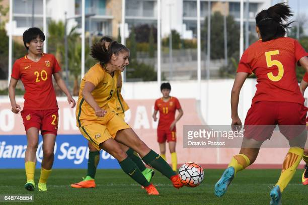 Amy Harrison of Australia controls the ball during action against China in the Women's Algarve Cup Tournament match between China and Australia at...