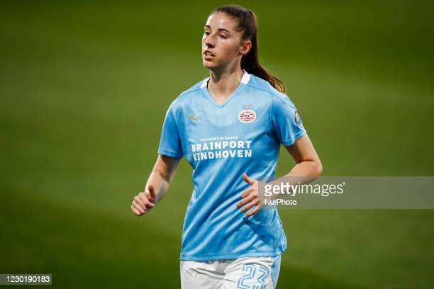 Amy Harrison of PSV during the UEFA Champions League Women match between PSV v FC Barcelona at the Johan Cruyff Stadium on December 16, 2020 in...