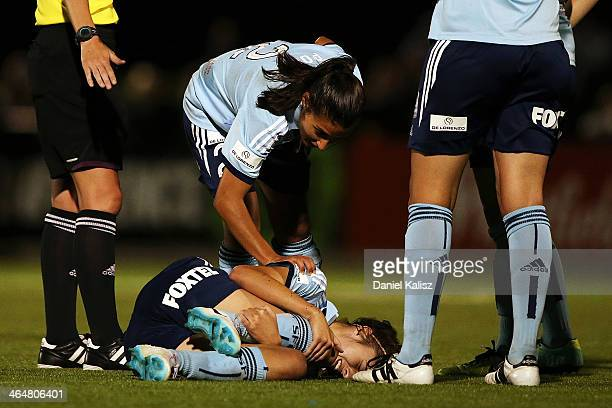 Amy Harrison of Sydney FC lies on the ground injured during the round 10 WLeague match between Adelaide United and Sydney FC at The Shores on January...