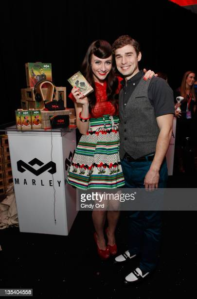 Amy Heidemann and Nick Noonan of Karmin attend Z100 & Coca-Cola All Access Lounge at Z100's Jingle Ball 2011 pre-show at Hammerstein Ballroom on...