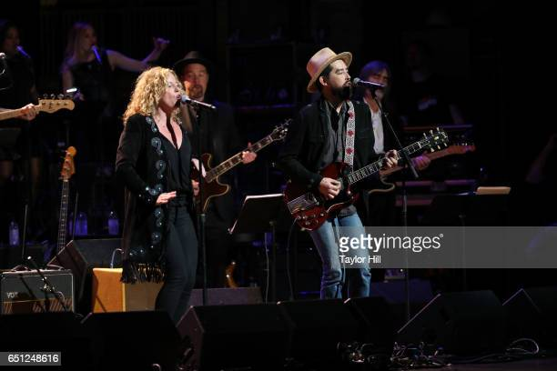 Amy Helm and Jackie Greene perform during 'Love Rocks NYC A Change is Gonna Come Celebrating Songs of Peace Love and Hope' a benefit concert for...