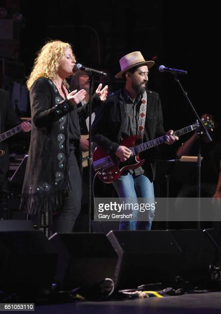 Amy Helm and Jackie Greene perform on stage during 'Love Rocks NYC A Change is Gonna Come Celebrating Songs of Peace Love and Hope' A Benefit Concert...