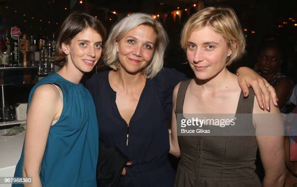 Amy Herzog Maggie Gyllenhaal and Greta Gerwig pose at the opening night after party for The New Group Theater's new play Peace For Mary Frances at...