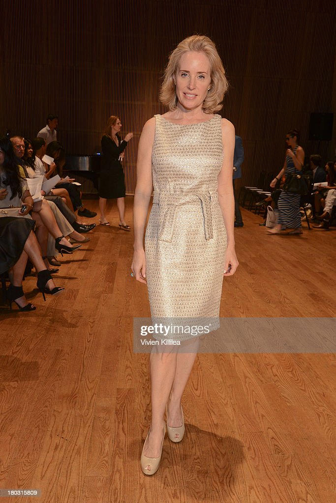 Amy Hoadley is seen on the front row at the Douglas Hannant fashion show during Mercedes-Benz Fashion Week Spring 2014 on September 11, 2013 in New York City.