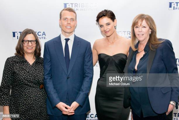 Amy Hobby David Earls Katie Holmes and Jane Rosenthal attend the 20th Anniversary Screening Of 'Wag The Dog' at 92nd Street Y on December 4 2017 in...