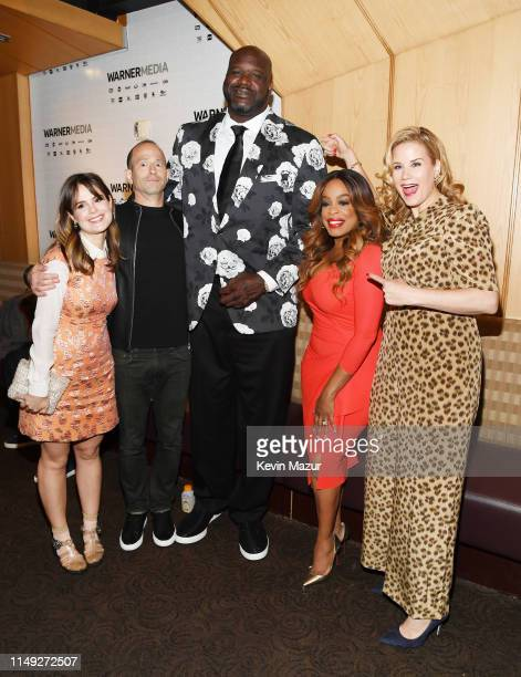 Amy Hoggart Mike Rubens Shaquille O'Neal Niecy Nash and Allana Harkin pose in the WarnerMedia Upfront 2019 green room at Nick and Stef's Steakhouse...