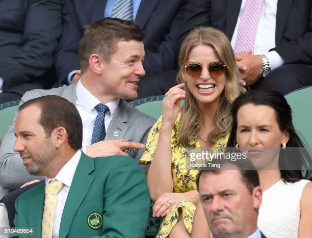 Amy Huberman and Brian O'Driscoll attend day five of the Wimbledon Tennis Championships at the All England Lawn Tennis and Croquet Club on July 7...