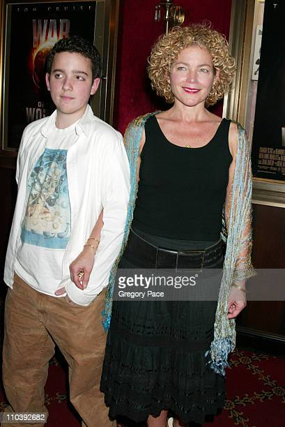 Amy Irving and son Gabriel during War of the Worlds New York City Premiere Inside Arrivals at Ziegfeld Theater in New York City New York United States