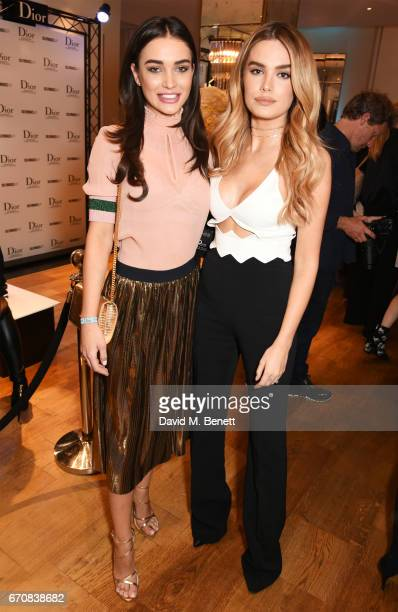 Amy Jackson and Chloe Lloyd attend the launch of the Dior Pump 'N' Volume Mascara with Dior spokesmodel Bella Hadid at Selfridges on April 20 2017 in...