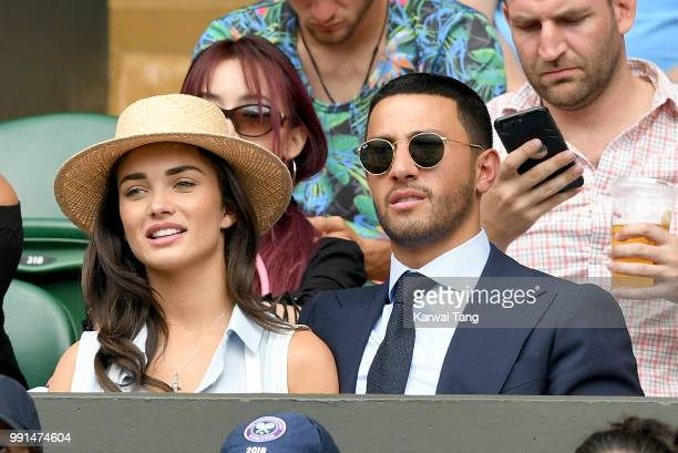 Amy Jackson and George Panayiotou attend day three of the Wimbledon Tennis Championships at the All England Lawn Tennis and Croquet Club on July 4...
