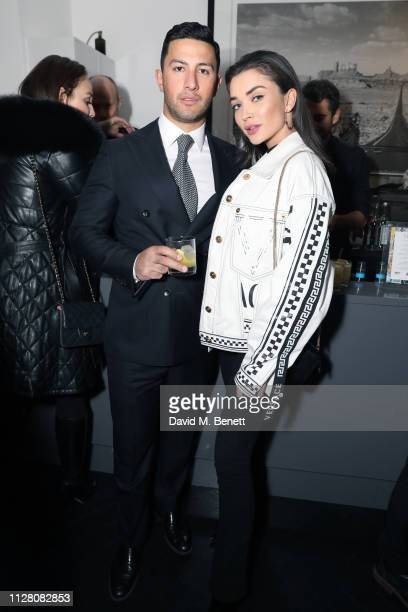 Amy Jackson and George Panayiotou attend the VIP private view of the 'Love And Other Crimes' exhibition at Maddox Gallery on February 07 2019 in...