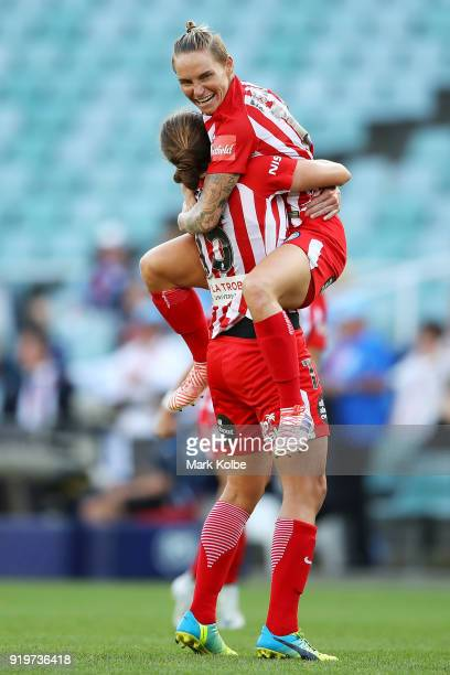 Amy Jackson and Jessica Fishlock of Melbourne City celebrates victory during the WLeague Grand Final match betweenSydney FC and Melbourne City FC at...