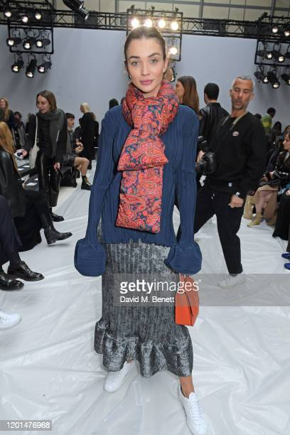 Amy Jackson attends the JW Anderson show during London Fashion Week February 2020 at Yeomanry House on February 17, 2020 in London, England.