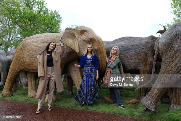 Amy Jackson, Donna Air and Joanna Lumley celebrate The Elephant Family's CoExistence campaign at a special exhibition featuring elephant sculptures...