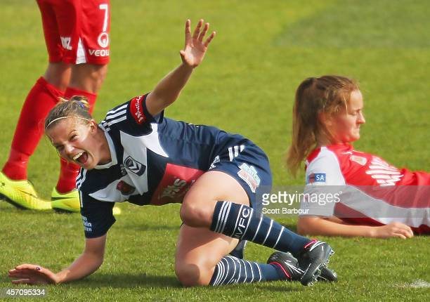 Amy Jackson of Melbourne celebrates after scoring a goal during the round five W-League match between Melbourne and Adelaide at Lakeside Stadium on...