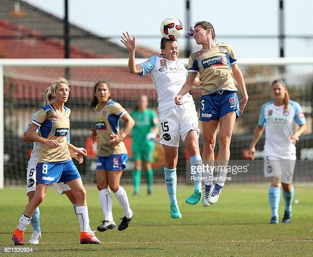 Amy Jackson of Melbourne City and Erin Gilliland of the Jets compete for the ball during the round one WLeague match between Melbourne City and the...