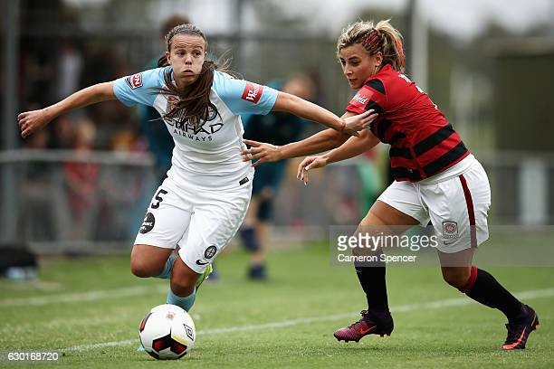 Amy Jackson of Melbourne City and Sarah Yatim of the Wanderers contest the ball during the round seven WLeague match between the Western Sydney...
