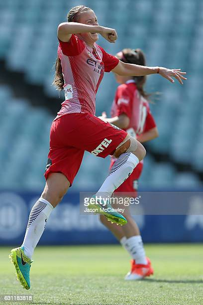 Amy Jackson of Melbourne City celebrates a goal during the round 11 WLeague match between Sydney FC and Melbourne City FC at Allianz Stadium on...