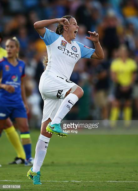 Amy Jackson of Melbourne City celebrates scoring a goal during the round 14 WLeague match between the Newcastle Jets and Melbourne City FC at Coffs...