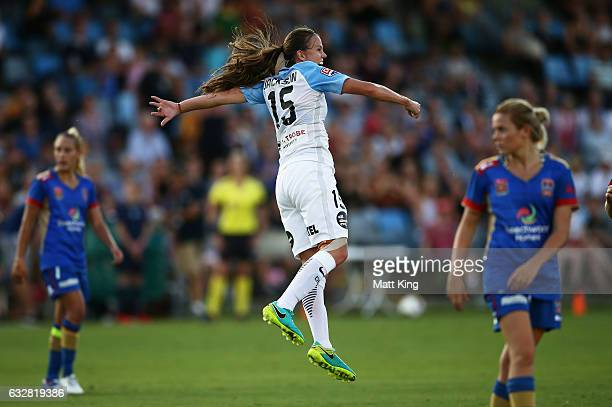 Amy Jackson of Melbourne City celebrates scoring a goal during the round 14 W-League match between the Newcastle Jets and Melbourne City FC at Coffs...