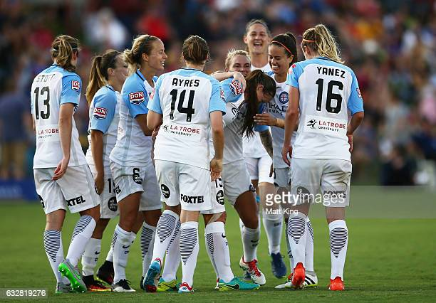 Amy Jackson of Melbourne City celebrates with team mates after scoring a goal during the round 14 WLeague match between the Newcastle Jets and...