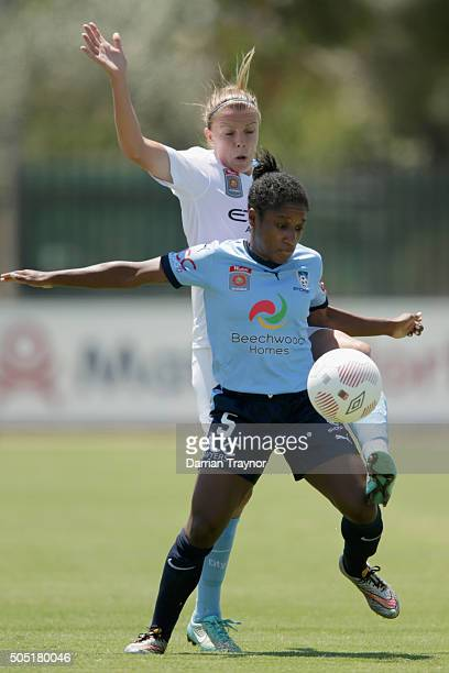 Amy Jackson of Melbourne City challenges Jasmyne Spencer of Sydney FC during the round 14 WLeague match between Melbourne City FC and Sydney FC at...