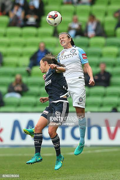 Amy Jackson of Melbourne City competes in the air during the round four ALeague match between Melbourne City FC and Melbourne Victory at AAMI Park on...