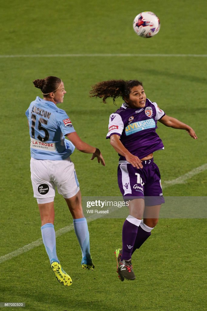 Amy Jackson of Melbourne City heads the ball during the round one W-League match between the Perth Glory and Melbourne City FC at nib Stadium on October 27, 2017 in Perth, Australia.