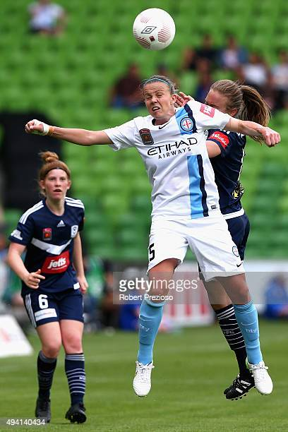 Amy Jackson of Melbourne City heads the ball during the round two W-League match between Melbourne City FC and Melbourne Victory at AAMI Park on...