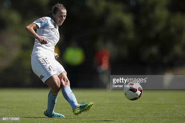 Amy Jackson of Melbourne City kicks the ball during the round 12 WLeague match between Melbourne Victory and Melbourne City FC at Epping Stadium on...