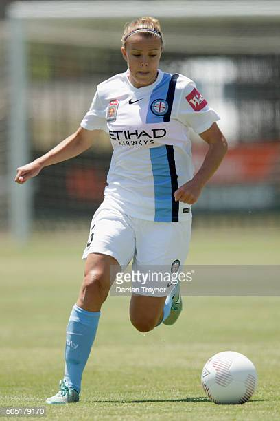 Amy Jackson of Melbourne City runs with the ball during the round 14 WLeague match between Melbourne City FC and Sydney FC at CBSmith Reserve on...