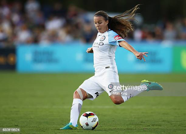 Amy Jackson of Melbourne City shoots to score a goal during the round 14 W-League match between the Newcastle Jets and Melbourne City FC at Coffs...