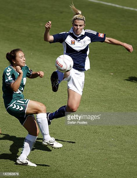 Amy Jackson of Melbourne United controls a high ball during the round four W-League match between Canberra United and the Melbourne Victory at...