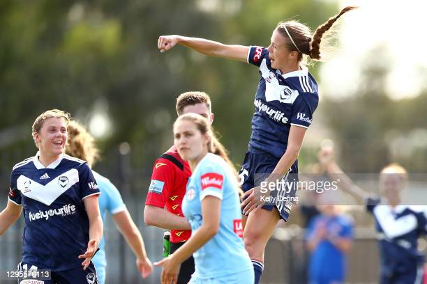Amy Jackson of Melbourne Victory celebrates her goal during the round three W-League match between Melbourne City and the Melbourne Victory at CB...