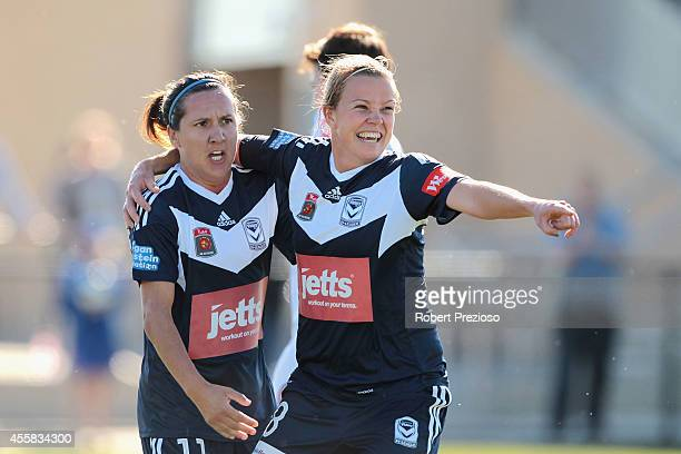 Amy Jackson of the Victory celebrates with team-mate Lisa De Vanna of the Victory after scoring a goal during the round two W-League match between...