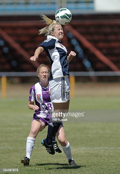 Amy Jackson of the Victory heads the ball during the round one W-League match between the Perth Glory and the Melbourne Victory at Intiga Stadium on...