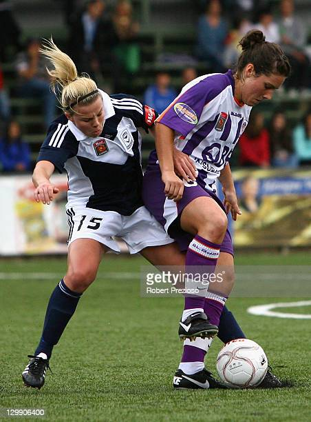 Amy Jackson of the Victory tackles from behind during the round one W-League match between the Melbourne Victory and Perth Glory at Veneto Club on...