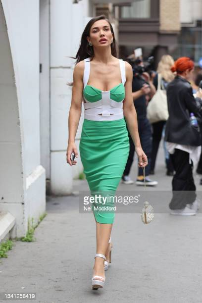 Amy Jackson seen attending Roland Mouret at the Soho Hotel during London Fashion Week September 2021 on September 19, 2021 in London, England.