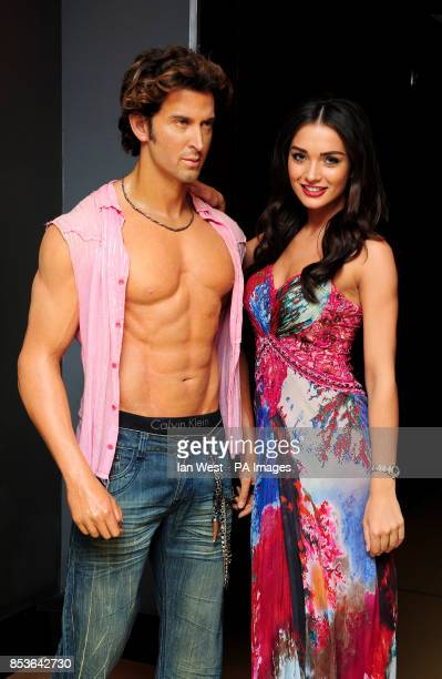 Amy Jackson seen with a waxwork of Hrithik Roshan attending the Great Place to StudyIndia gala dinner and awards presentation Madame Tussauds London...