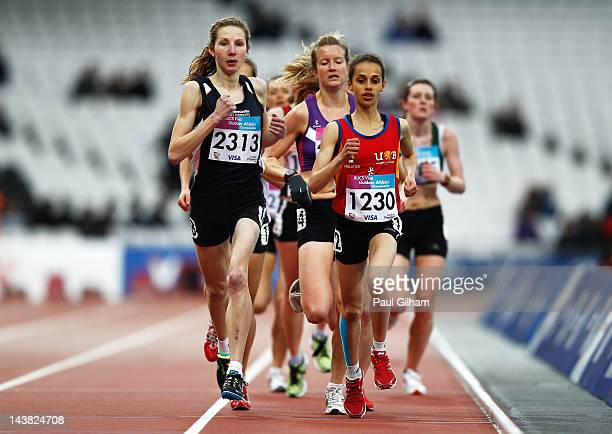 Amy Jessett leads Hannah Walker on her way to winning the Women's 3000m race during day one of the BUCS Visa Athletics Championships 2012 LOCOG Test...